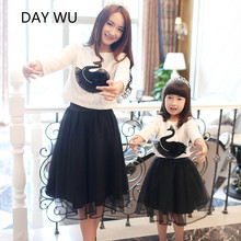 Family fitted spring 2016 models black lace veil skirt autumn swan girls mother of font b