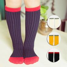 New Cotton Knee High Socks Children tube Socks Jacquard Colored Kids Socks Toddler Boys Girls Fall Winter Leg Warmers Baby Dress(China (Mainland))