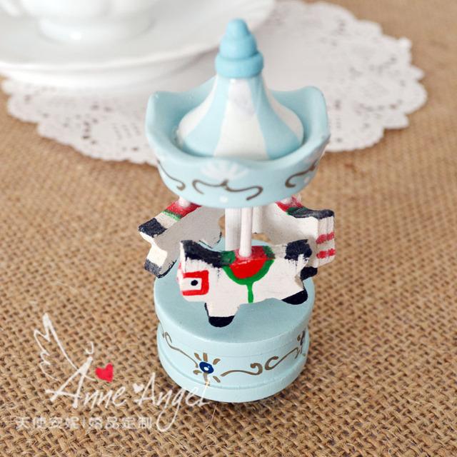 Mini Wooden horse carousel chrismasday  wedding gifts children's birthday gift