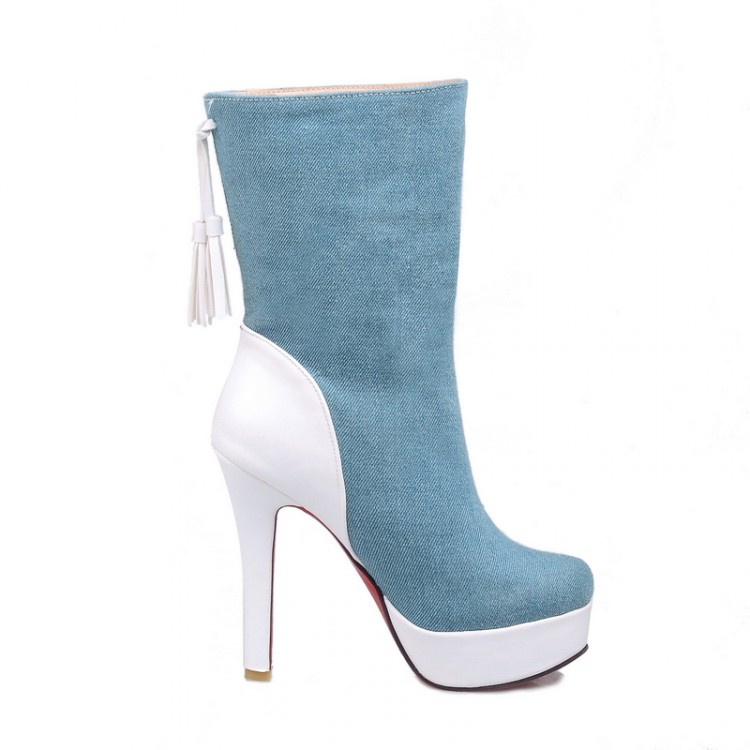 New Autumn Women Mid-Calf High Denim Boots Sexy High Heels Ladies Solid  Boot Fashion Elegant Woman Black Blue Thin Heel Shoe<br><br>Aliexpress