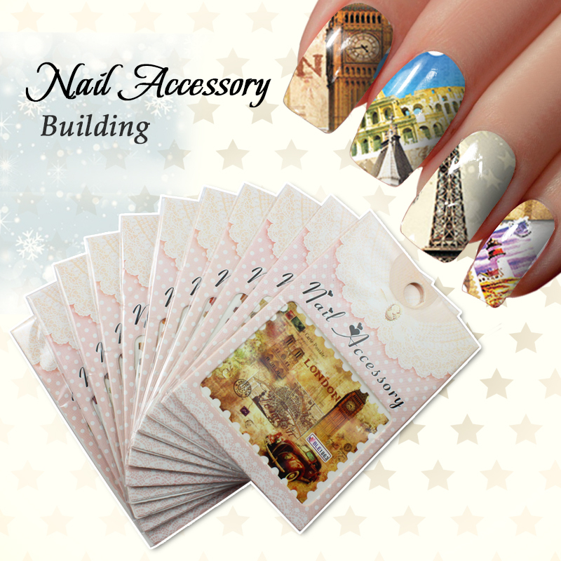 Postage Stamp Watermark Transfers 3D Nail Stickers Decals Foil Nail Art Decorations Tools Accessories(China (Mainland))