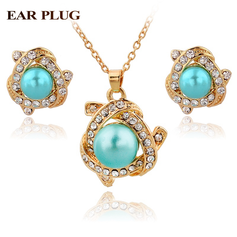 Famous brand luxury gold plated jewelry sets big simulated for Diamond pearl jewelry sets