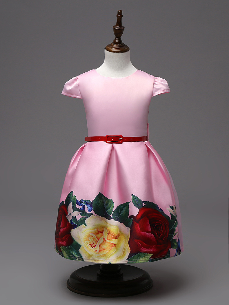Floral print girl pageant dress with red belt Cheap flower girl dresses 2016(China (Mainland))