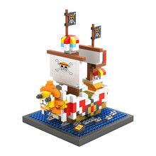 LOZ 9829 Japanese Anime Series One Piece Sunny Pirate Diamond Bricks Minifigures Building Block Minifigure Toys For Gift