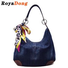 RoyaDong Women Shoulder Bag Denim Bag With Scarf 2016 Women's Handbags Messenger Bags Designer Crossbody Bag For Women(China (Mainland))