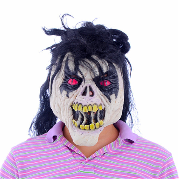 Horror Mask For Adults Halloween Costumes Cosplay Party Props Black Hair Red Eyes Fierce Full Face Mask MJ042