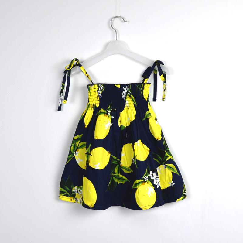 2016 Summer Baby Girls Braces Dress Lemon&Pineapple Pattern Cotton Sleeveless Susoender Dress Toddler Kids Baby Girl Clothing(China (Mainland))