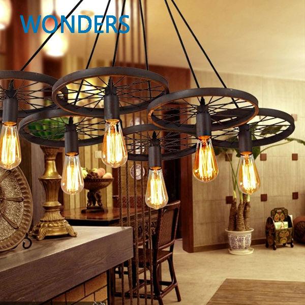 vintage pendant light american style wheel shape rope drop. Black Bedroom Furniture Sets. Home Design Ideas