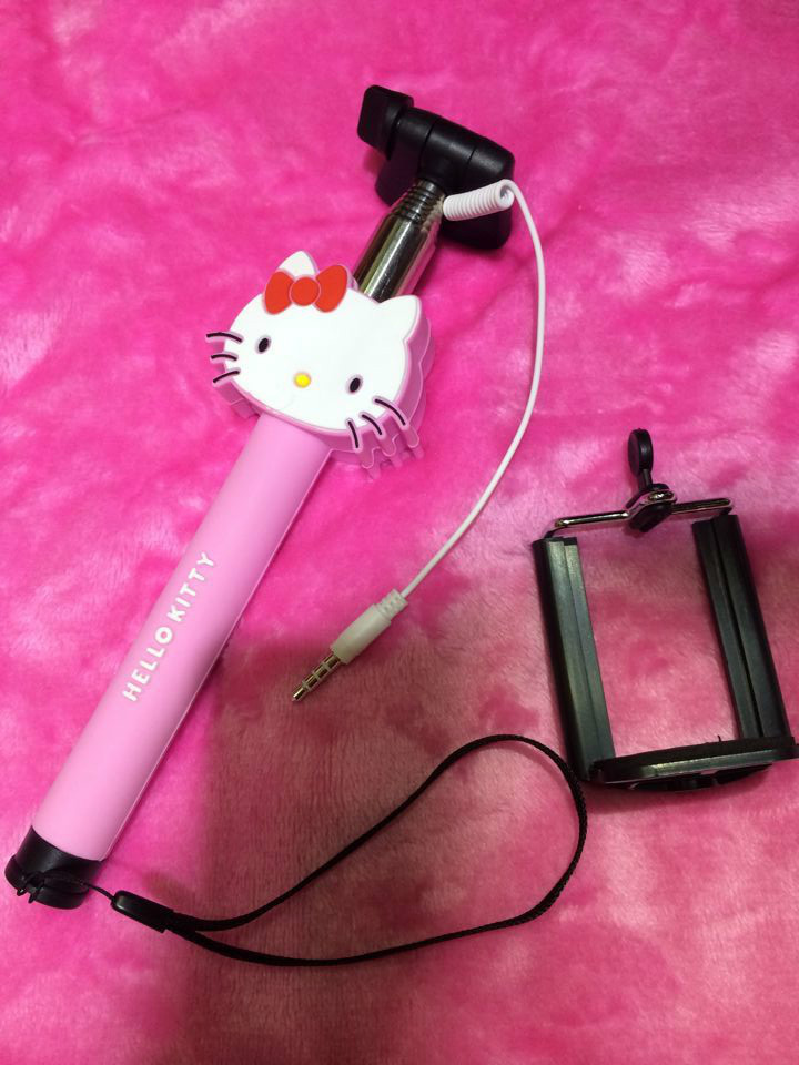 free shipping cartoon series hello kitty pink version wired selfie stick no charging for iphone. Black Bedroom Furniture Sets. Home Design Ideas