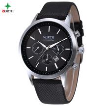 NORTH Men Watch Luxury Brand Fashion Male Wristwatch 30M Waterproof Sport Watch Casual Genuine Leather Quartz Business Watches(China (Mainland))
