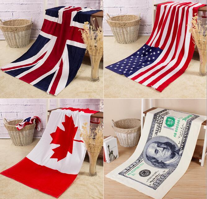 New cotton beach towel bath towel Towel U.S. English Union Europe Dollar towels creative home textile travel use RN305(China (Mainland))