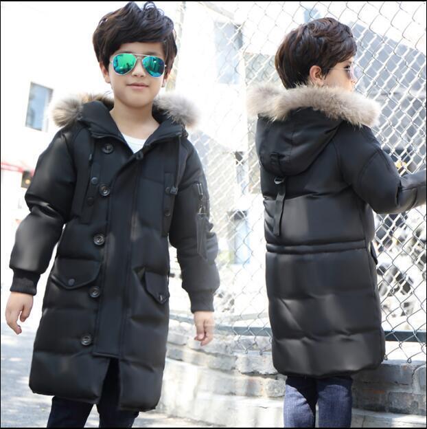 Белая утка вниз 2016 новых детей пуховик и длинные участки мальчик большой девочек толстые зимнее пальто куртка