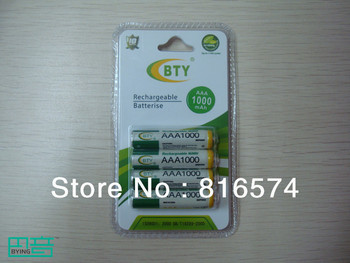 Free Shipping Wholesale 100pcs/lot Original High Quality BTY AAA 1.2V 1000mAh Rechargeable Ni-MH Battery Batteries,4pcs/pack
