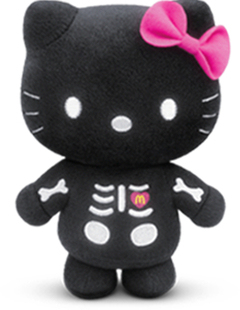 New arrival Hello Kitty doll/Hello kitty black skully toy christmas gif doll birthday gift 17cm free shipping