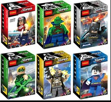 Wholesale Decool 0211-0216 480pcs Super Heroes Minifigures Batman Bizarro Bane Wonder Woman Figure Building Blocks Sets Toys