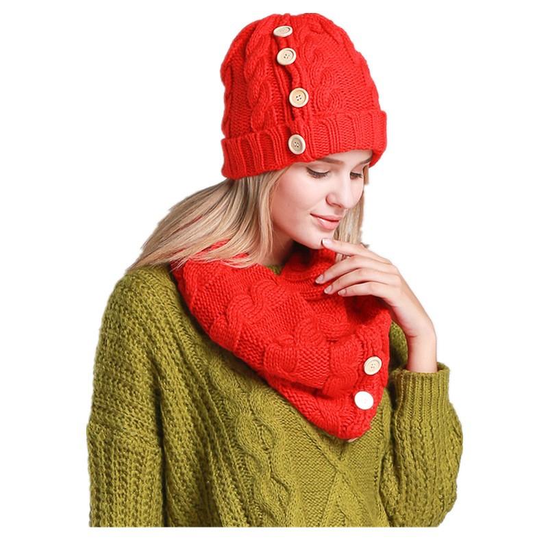 5 цветов новинка теплые зимние шапочки трикотажные удобные толстого шляпу и шарф комплект для женщин