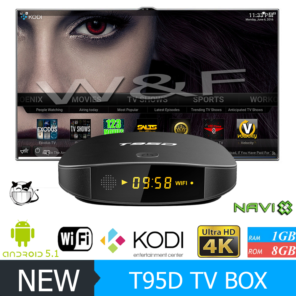 Newest RK3229 TV BOX T95D Android 5.1 1G RAM 8G ROM 2.4G WiFi TV Online Streaming Media Player VS V88 android tv box