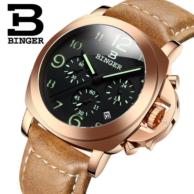 Genuine Swiss BINGER Brand Men leather strap luminous waterproof sports Chronograph calendar military watch large dial(China (Mainland))