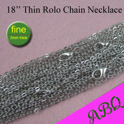 45cm Dark Silver Thin Rolo Chain Necklace, 18 inch Metal Link Chain Necklace, 2mm Fine Chain to Match Antique Silver Pendants(China (Mainland))