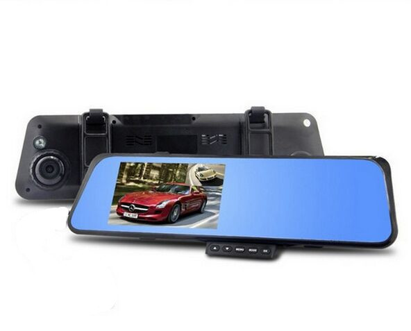 Free Shipping 4.3 Inch Dual Camera Camcorder Reviews Mirror Video Blackbox Recorder DVR Mounted Security Driving Accident Video(China (Mainland))