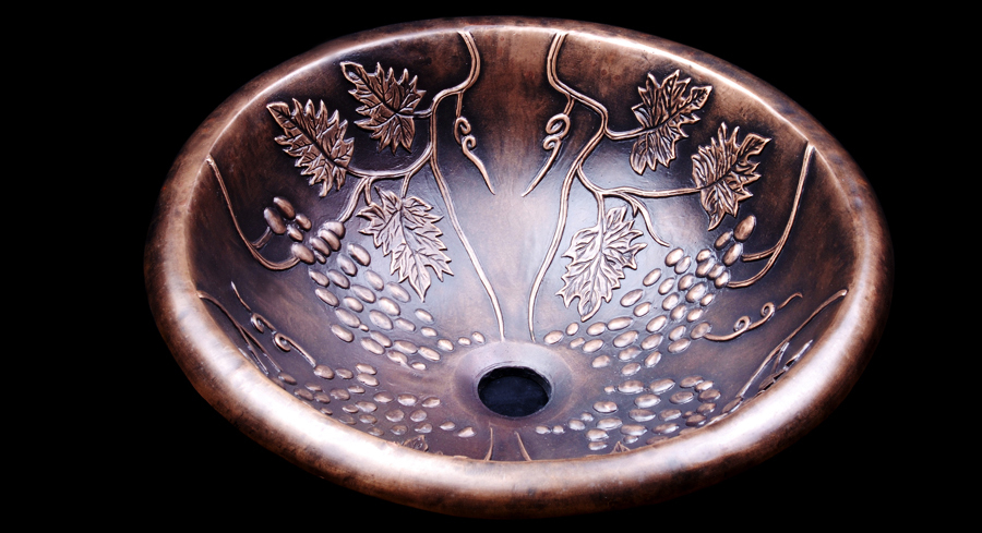 Grape Decorative Drop-In Luxury Construction Round Bronze Sink Bowl Aged Finished Bathroom Copper Basin Brass(China (Mainland))