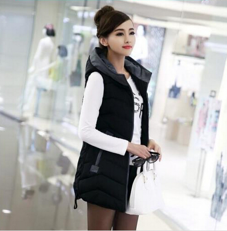 New autumn and winter 2014 women down cotton vest fashion Slim Hooded long coat female jacket thick warm winter women coat DM397Одежда и ак�е��уары<br><br><br>Aliexpress