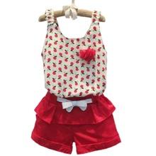 2016 Summer Style Baby Girls Clothing Set Sleeveless Polka Dot Vest+ Pant 2pcs/set Kids Chiffon Clothes Set 2-8 Years KF056(China (Mainland))