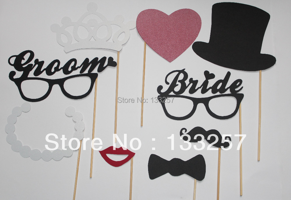 NEW Product Free Shipping 9pcs Photography Photo Booth Props Hat Mustache On A Stick Wedding