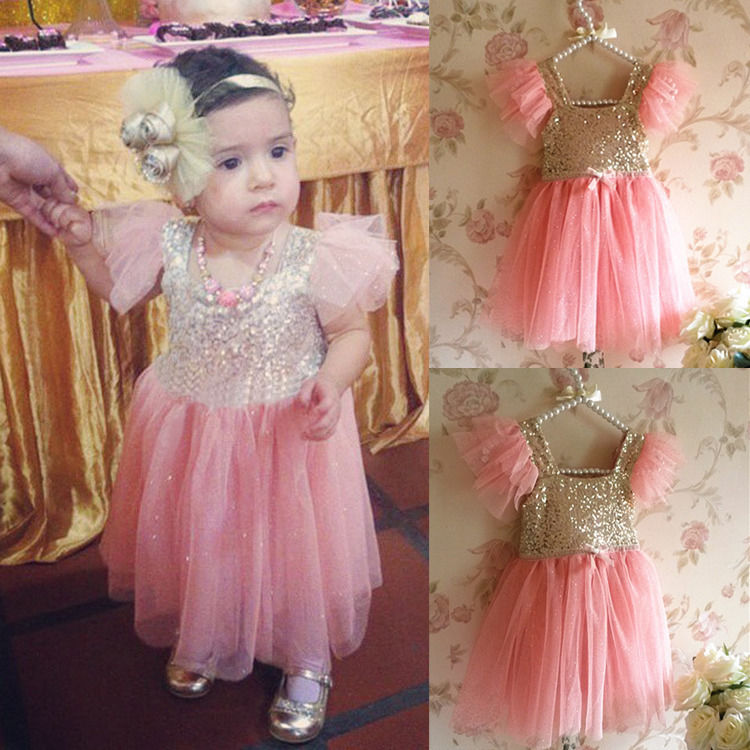 2016 Bling Pinks Princess Baby Girls Party Tulle Tutu Gown Fancy Dresses 2-7Y(China (Mainland))
