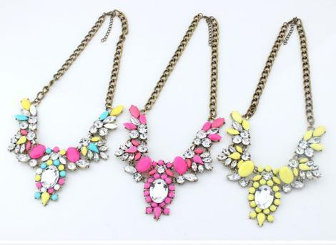 Jewelry Fashion 6 colors Brand Flower Choker Luxury Fashion Rhinestone Necklaces For Women 2015 New necklaces & pendants
