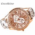 CocoShine A 918 Love Gift Heart Pattern Flower Leather Band Quartz Analog Wrist Watch wholesale Free