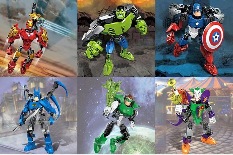 Children's Super Heroes Avengers Iron Man+Hulk+Batman+Joker+Captain America+Green Lantern Building Block Assemble Model Toys - chingloong's store