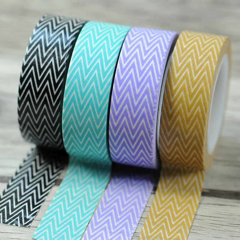 Cool Wave Lines 1.5cm x 10meters Washi Paper Masking Tapes DIY Decors Decorative Stickers Gift Wrapping Sticker Party Favor <br><br>Aliexpress