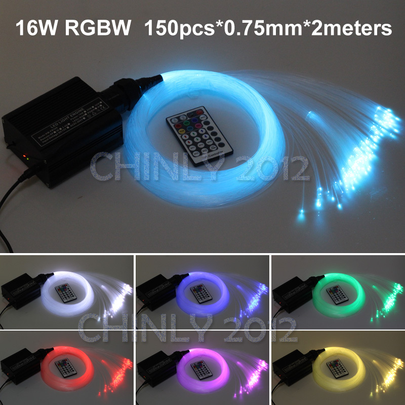 16W RGBW LED Fiber optic light Star Ceiling Kit Lights 150pcs 0.75mm 2M optical fiber lighting+RF 28key Remote engine(China (Mainland))