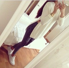 Hot 2015 New Fashion O-neck Loose  Women's Clothes Casual Pullover Oversized Sweaters Long Sleeve Side Split Tracksuits(China (Mainland))