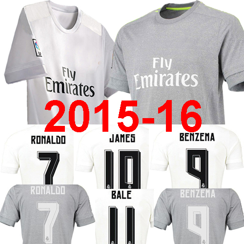 Thailand quality soccer jersey Real madrid 2016 RONALDO BALES JAMES Real Madrid Jersey 15 16 Camisetas de futbol maillot de foot(China (Mainland))