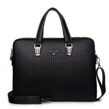 2016 New Men Genuine Leather Briefcase Computer Laptop Bag Brands Business Weave Messenger Portfolios Daily Handbag Travel Bags(China (Mainland))