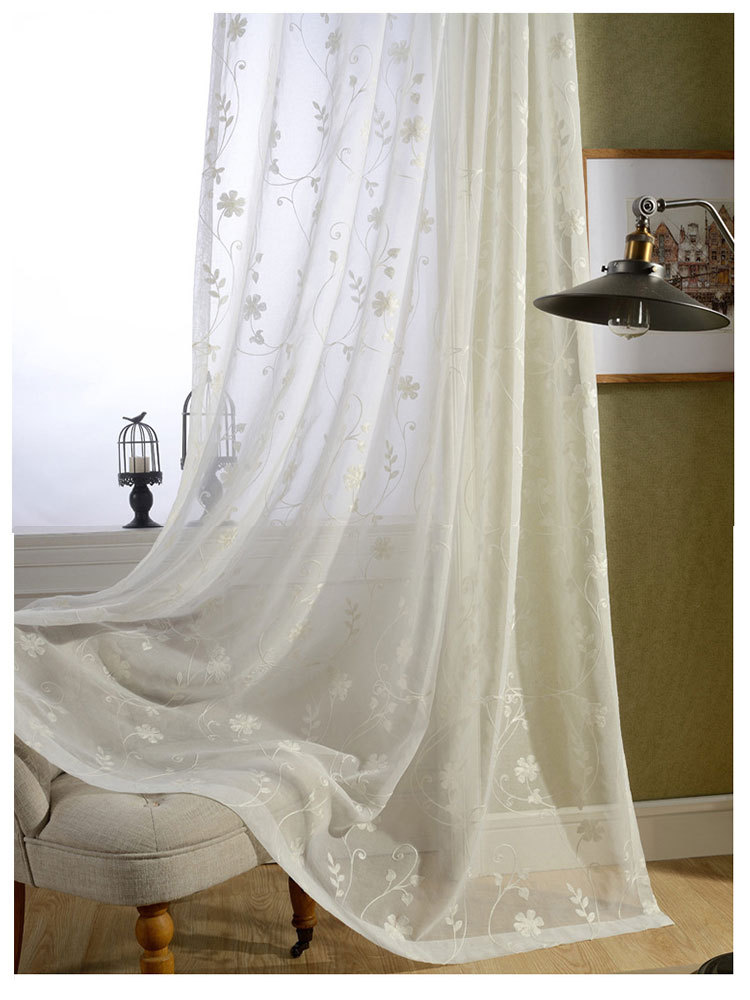 Free Shipping Finished White Cotton Embroidered Voile Curtains For Living Room Door Voile Tulle
