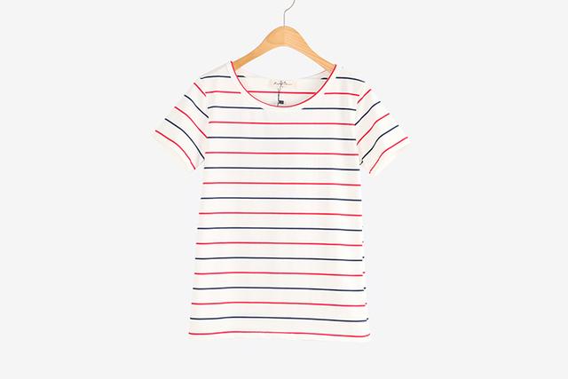 2016 женщин летняя футболка одежда о-образным шеи классические полосатые топы бесплатная доставка