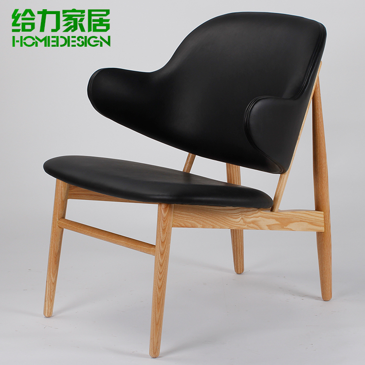 High end European style lounge chair leather recliner IKEA wood armchair den