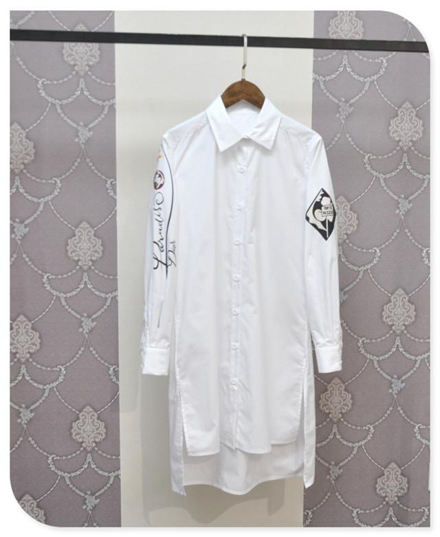 Pattern Sleeve White Long Womens Shirts 2016 Spring Fashion Long Sleeve Blouses New Camisa Mujer Chemise Femme Manche Longue