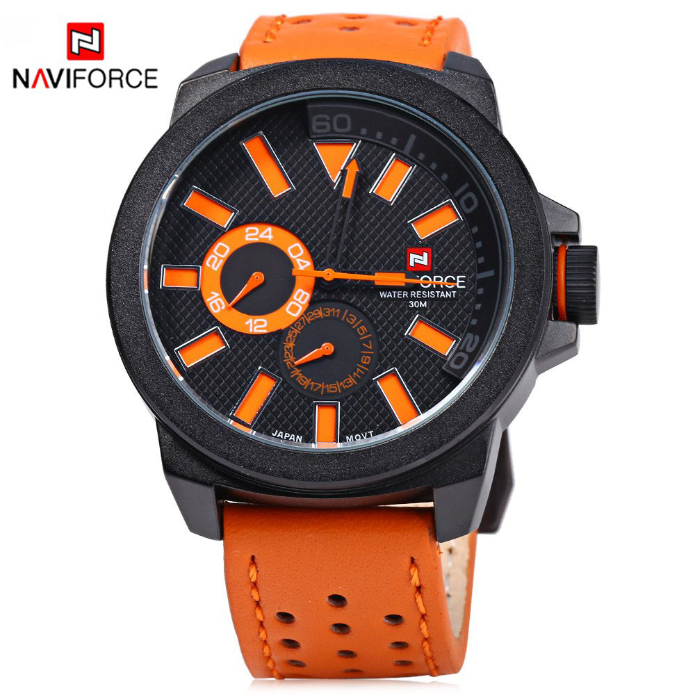 NAVIFORCE 9064 Men Watch Fashion Sports Watches Mens 30m Waterproof Quartz Watch Man Leather Strap Army Military Wrist watches<br><br>Aliexpress