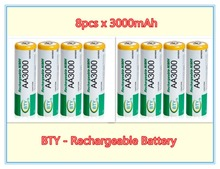 8x AA 3000mAh 1.2 V Ni-MH rechargeable battery BTY cell for RC Toys Camera MP3 Shaver Free shipping