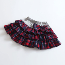 z6 2016 new baby girl wholesale College Campus British  style  skirts Bow decoration tutu  plaid  skirt for  kids free shipping
