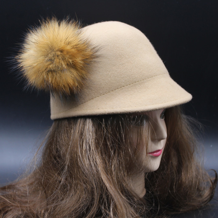 100% real reccoon fur 10cm winter wool hat 2015 new hats for women soft warm hat warm cap with big ball High Quality(China (Mainland))
