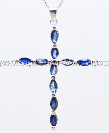 Sapphire necklace pendant Perfect Jewelry Natural sapphire 925 sterling silver Cross