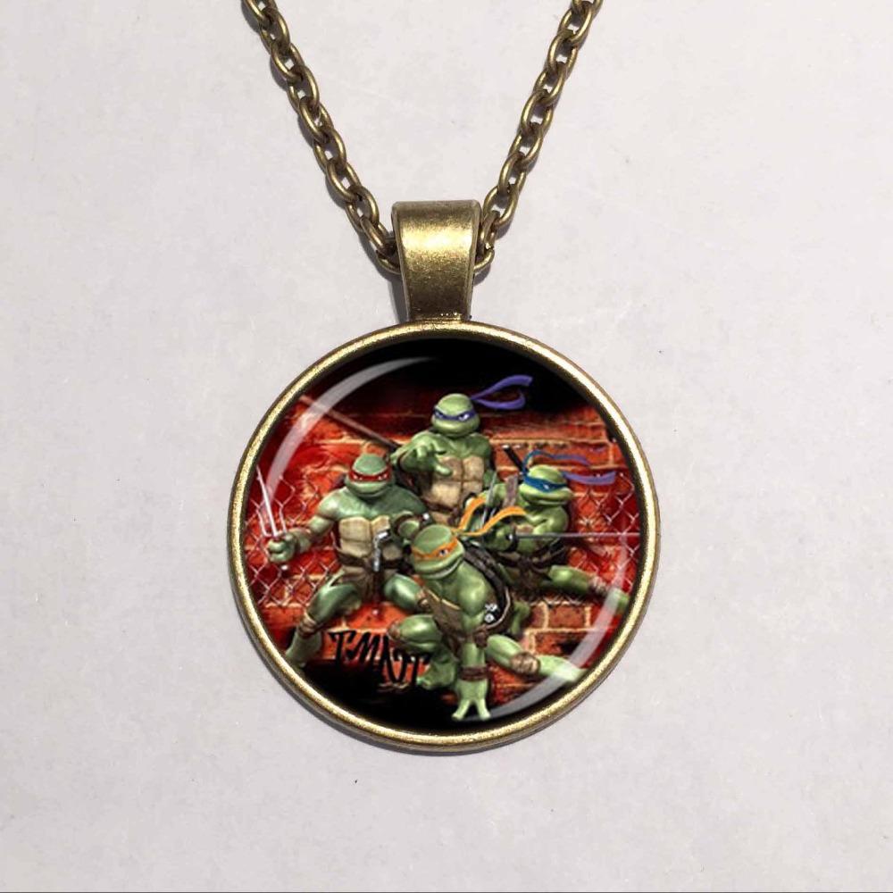 Wholesale Glass Dome pendant Teenage Mutant Ninja Turtles Necklace Cartoon characters Necklace Hero Necklace(China (Mainland))
