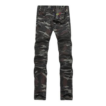 2016 New Camouflage Jeans Men Famous Designer Slim Biker Washed Jeans Size 29-38 Jeans Homme Skinny Jeans Men