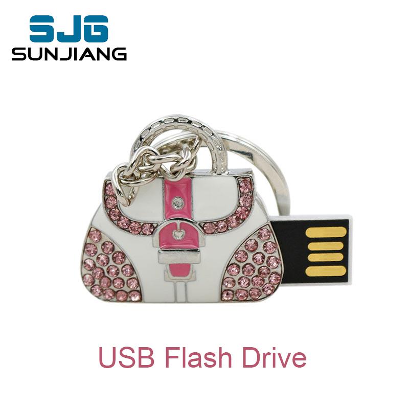 real capacity pen drive metal bag 4GB 8GBUSB Flash Drive Custom Jewelry & Crystal Lady Bag pendrive 16GB 32GB U disk 64gb gifts(China (Mainland))
