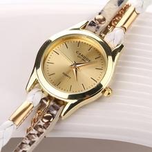 77 Fashion Hot Sell New Woven Leopard Geneva Bracelet Wristwatch Women Dress Watches Women Luxury Brand